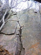 Rock Climbing Photo: Climb crack until you can mantel the ledge on your...