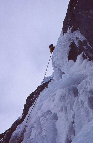 Rock Climbing Photo: first ascent- rapping off thicker ice  after compl...