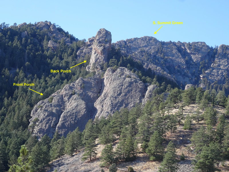 Front Porch, Back Porch, and the South Summit of Green Mountain.