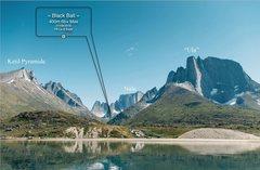 Rock Climbing Photo: Topo Black Ball 6B+ max 400 M