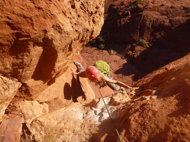Rock Climbing Photo: Emma stemming through the final part of P1 on the ...