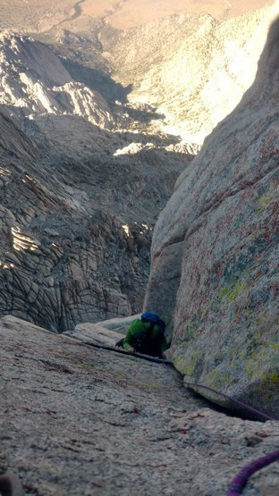 Approaching hand jams corner of p3 of 2nd tower sketchy far east chimney variation.