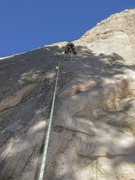 Rock Climbing Photo: Lin Murphy passing the last bolt on Relic.