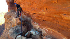 Rock Climbing Photo: Exposed traverse after P2 leads to summit scramble...