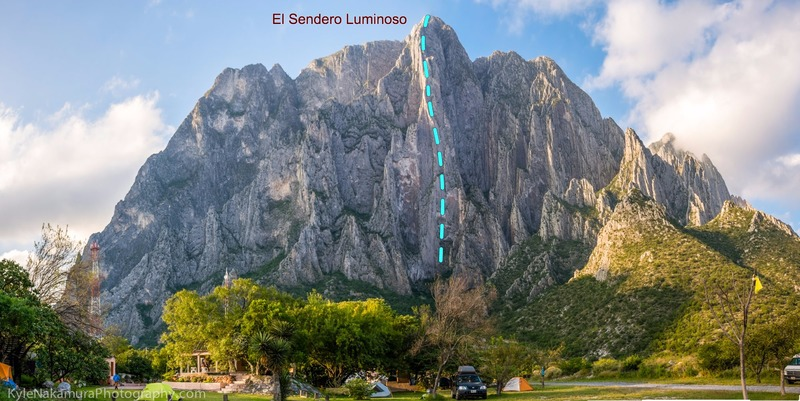 North face of El Potrero Chico, showing the famous El Sendero Luminoso (5.12d).