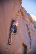 Rock Climbing Photo: Sean just past the first roof on Sinestra. Still a...