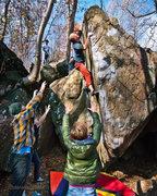 Rock Climbing Photo: DD sending The Islander (V8) at Mt. Gretna, PA. No...