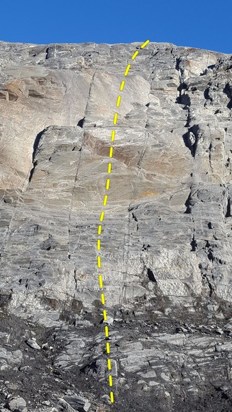 Rock Climbing Photo: This route climbs up the center of the photo and t...