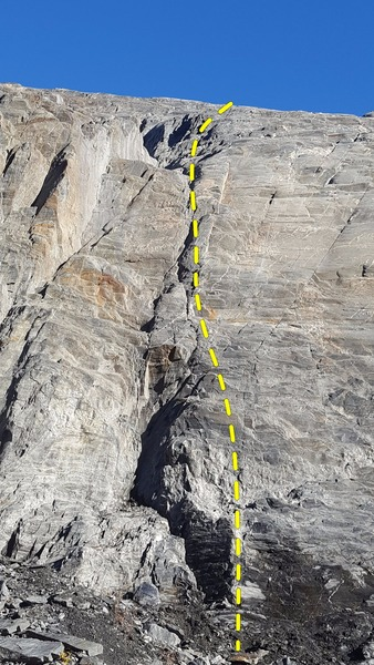 This sport route stays right of the rotten dihedral on enjoyable rock with fun moves.