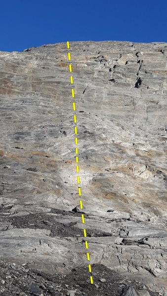 Enjoy this sport route that climbs up the center of the photo