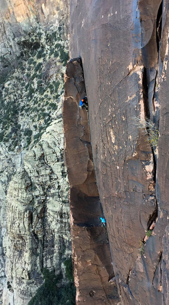 Rock Climbing Photo: An iPhone shot of a party going up Pitch 4 of The ...