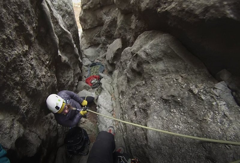 The route is the right most bolted route up in this gully which you enter at the base of the Classic Waves route.