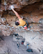 Joe Wysznski keeping cool on Crash and Burn, 5.12d