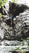 Rock Climbing Photo: Following Razorback Roof at Sam's Throne