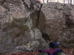 Rock Climbing Photo: Austin demonstrates the starting hold for The Furn...