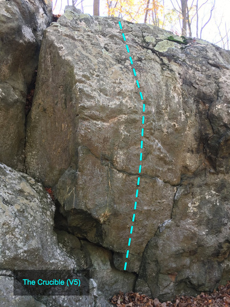 The Crucible (V5) at the Charcoal Exhibition Boulder<br> Charcoal Exhibit Boulders Area, Catoctin Mountain Park