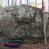 Iron Oxide (V2-3) at the Charcoal Exhibition Boulder<br> Charcoal Exhibit Boulders Area, Catoctin Mountain Park