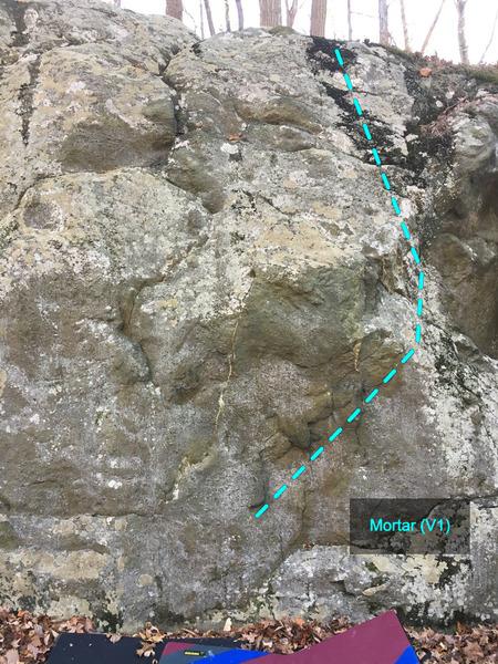 Mortar (V1) at the Charcoal Exhibition Boulder<br> Charcoal Exhibit Boulders Area, Catoctin Mountain Park