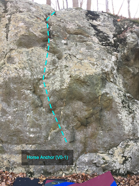 Horse Anchor (V0-1) at the Charcoal Exhibition Boulder<br> Charcoal Exhibit Boulders Area, Catoctin Mountain Park