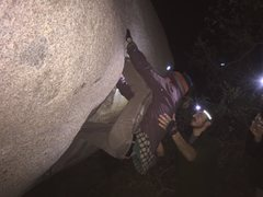 Rock Climbing Photo: An earlier attempt of many strenuous attempts.  Hi...
