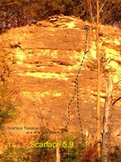 Rock Climbing Photo: Scarface illuminated by a sunset