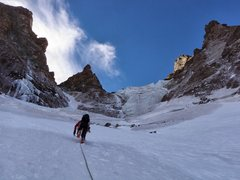 Rock Climbing Photo: Halfway up the climb.  The route takes the left co...