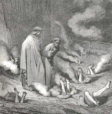 Dante and Virgil observe the fate of the hypocrites in the inferno, who broke the rules and drilled fictional climbs while condemning those who followed the traditional ethic of a Second on a FA.