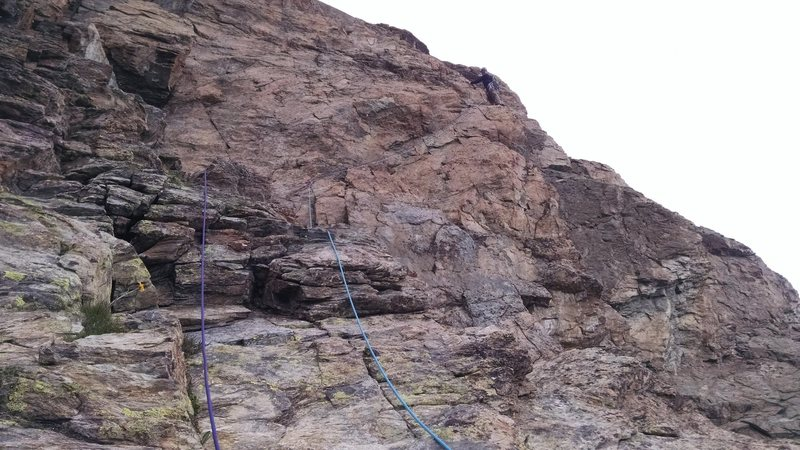 Rock Climbing Photo: P3 Traverse.  More slippery and exposed than it lo...