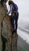 Rock Climbing Photo: My 10 year old on P3.  It had just started hailing...