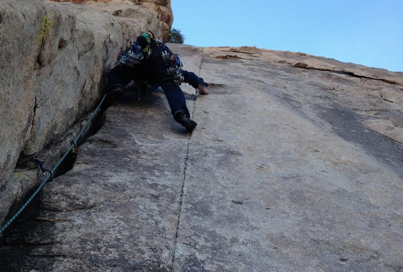 Dung Fu, Hemingway Buttress.  Almost all passive.  Went right and up after the chimney onto an unprotectable slab.