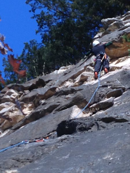 Scott Riley on Artifact at upper roof dihedral