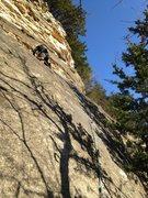 Rock Climbing Photo: Lower steep face slab of Crinoid Direct