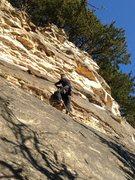 Rock Climbing Photo: Scott on the middle buldge of Crinoid