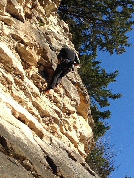 Rock Climbing Photo: Rap cleaning the route at the upper small roof