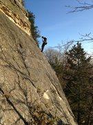 Rock Climbing Photo: Scott cleaning the lower slab of Crinoid