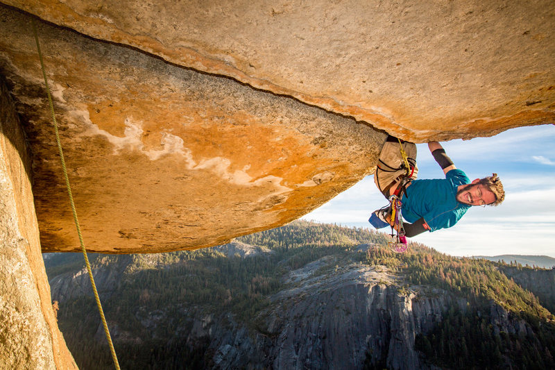 """Yosemite's Owl Roof. It's a lot of work for such a short route. The end of the roof marks the start the crux. What you don't see in these photos, is that the gear can get in the way of the pivot, but falling without gear will slam you into the low angle wall below, that is assuming you didn't insert your foot incorrectly and snap your ankle. This is one of those routes where the grade for leading it and top roping are incomparable. Because of these challenges, this route has a history of people calling it good enough at the lip, which cheats you of the """"lovely"""" surprise which awaits after you pivot, the true test of how well you placed your gear; did your rope get pinched?"""