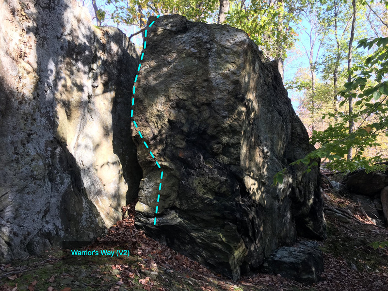 Warrior&#39;s Way (V2) at the Chief Block<br> Cunningham Falls area, Catoctin Mountain Park