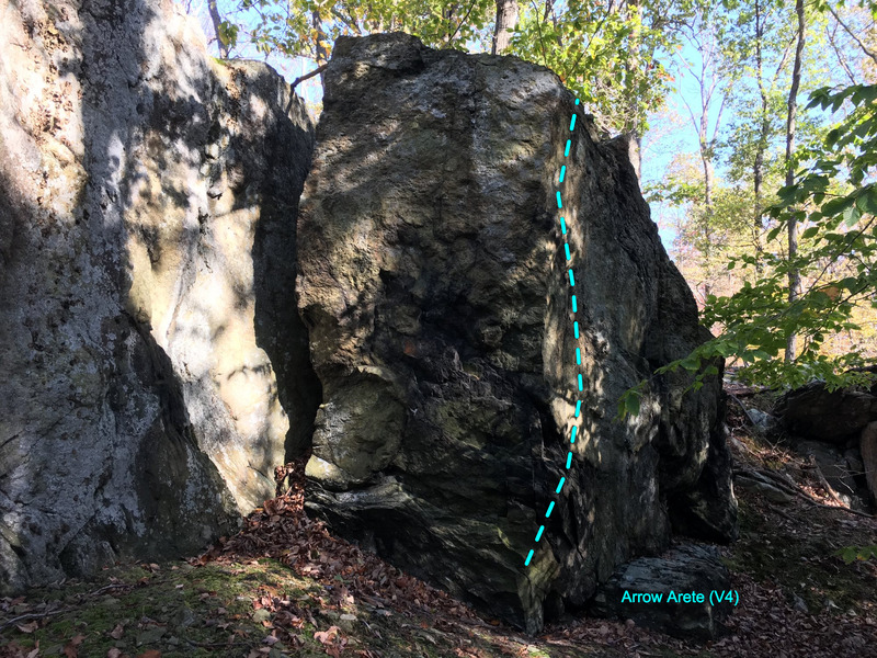 The Arrow Arete (V4) at the Chief Block in Cunningham Falls area of Catoctin Mountain Park