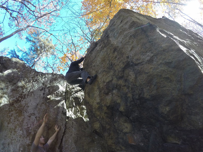 Rock Climbing Photo: Chris manages the topout on Warrior's Way (V2)...
