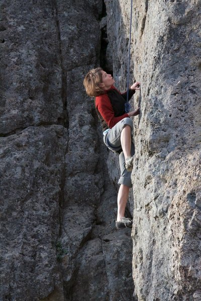 Rock Climbing Photo: West Face!  Mrs. Dodrill Throwing down
