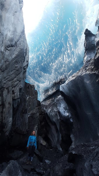 Rock Climbing Photo: Christina (FA) checking out the ice cave a few hun...