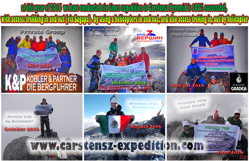Carstensz Pyramid Expedition 100% Success Throughout the year 2016 we&#39;ve done 6 times the expedition to the summit of Carstensz Pyramid. <br> with access:<br> *Trekking in/out<br> *By helicopter in/out <br> <br> Let&#39;s join with INTERNATIONAL GROUP or want to PRIVATE<br> <br> Already opened registration for those who wish to do expeditions to the summit of Carstensz Pyramid for next year 2017.<br> <br> for more information please contact us:<br> PT. Berkat Carstensz Indonesia - Travel Agent <br> info@carstensz-expedition.com or dennycarstensz@gmail.com<br> Phone : +62 81340798030 <br> Skype: denny.engka <br> facebook: https://www.facebook.com/pages/Carstensz-Pyramid-Expedition/313694125086?ref=hlOur trip 100% success throughout the 2015<br> <br> www.carstensz-expedition.com