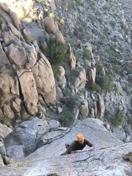 Kyle, just wrapping up the 2 bolt direct finish for Sidewinder.  Awesome end to a great route.