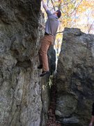 Rock Climbing Photo: Dan tops out on the Knife Wall.