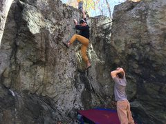 Rock Climbing Photo: David catches the top lip of Full Tang (V1-2) on t...