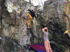 Rock Climbing Photo: Ascending the Knife Wall.