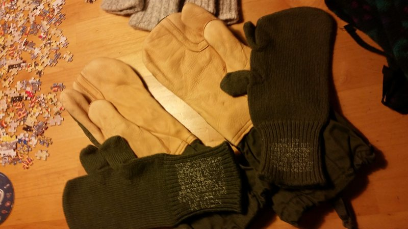 military leather palm gloves w/ wool liner new unissued $7sold
