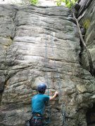 Rock Climbing Photo: The bolts and anchor locations for Insistent Irony...