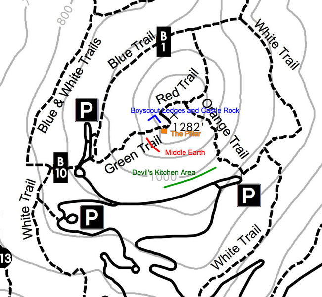 The trails around the main Sugarloaf Mountain climbing areas.