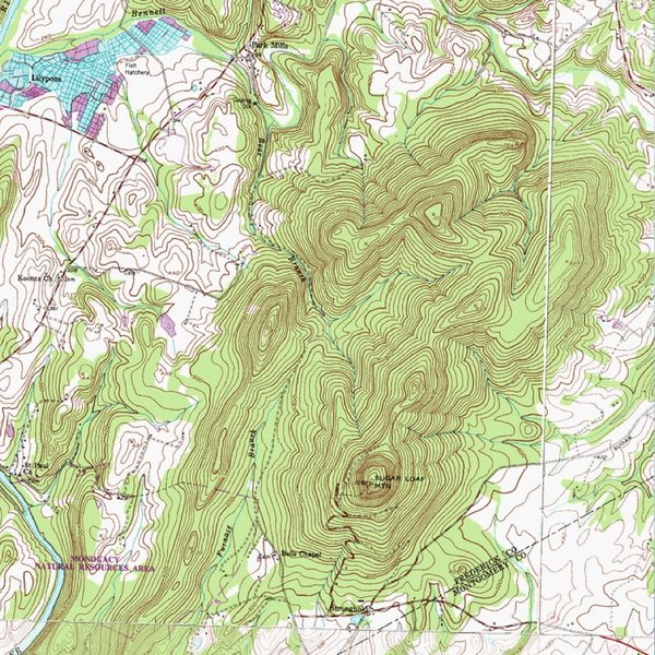 Rock Climbing Photo: Topographical map of Sugarloaf Mountain and surrou...